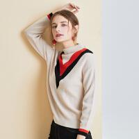 拼色毛衫女2018冬装新款长袖半高圆领宽松毛衣打底针织衫 米白