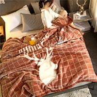 珊瑚绒被套毛毯被子加厚冬季双层单人学生宿舍法兰绒卡通珊瑚绒毯子女