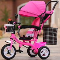 儿童三轮车脚踏车宝宝大号手推车1-3-6岁男孩女孩自行车轻便推车 粉红色 粉色全蓬钛空轮