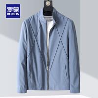 【1件1折价:119】【清仓】罗蒙男士休闲夹克衫2021春季新款时尚百搭纯色上衣中青年立领外套