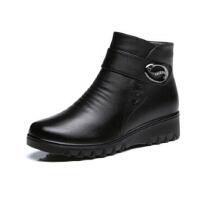 中老年人短靴老人加绒妈妈鞋 棉鞋 冬季中年女鞋保暖棉平底大码皮鞋