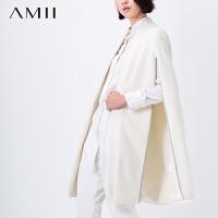 AMII[极简主义]冬新女大码宽松开衩斗篷西装毛呢外套11591593
