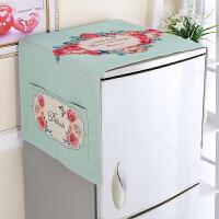 冰箱盖布遮灰布套滚筒洗衣机防尘罩盖巾单双开门冰箱挂袋防尘遮灰 绿底玫瑰