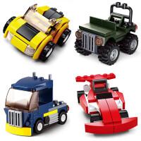 快乐小鲁班兼容乐高积木男孩子飞机消防车拼装玩具组装汽车机器人