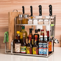 2019新品新品厨房置物架调料架双层不锈钢壁挂2层台面调料瓶储物收纳架调味架