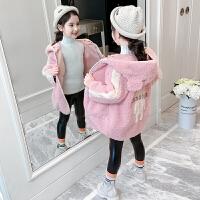 2019秋季新款洋气中长款加绒羊羔毛大衣儿童毛毛衣女童秋冬装外套