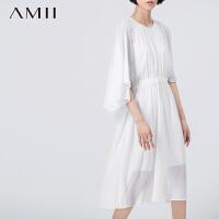 AMII[极简主义]夏宽松圆领垂感橡筋腰大码蝙蝠袖褶皱连衣裙11590943