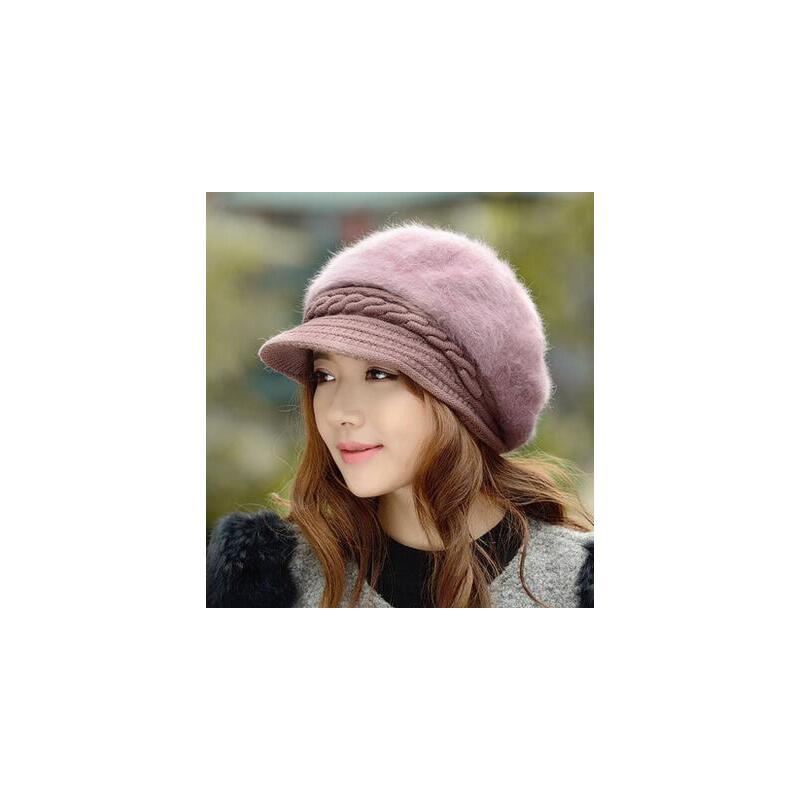 韩版潮秋冬天御寒双层保暖毛线针织兔毛帽时尚护耳 冬季帽子女新款
