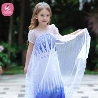 爱莎公主裙女童夏装艾莎裙子 儿童白色连衣裙爱沙夏礼服