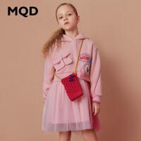 【1件2.5折券后�r:128】MQD童�b女童拼接�B衣裙2020冬�b新款�和�加�q加厚�B帽保暖�B衣裙