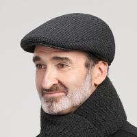 帽子男冬季中老年人毛呢保暖鸭舌帽爸爸爷爷帽老人秋冬天护耳棉帽