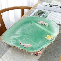 陶瓷茶盘 大号荷叶家用年年有余简约圆形茶具套装 排水特价青瓷茶盘