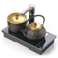 【优选】电磁茶双炉自动上加抽水电热烧水茶壶嵌入式茶桌茶台几铁壶泡茶 深棕色 电磁茶炉铁魂套装