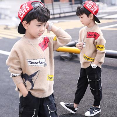 秋冬款儿童洋气韩版童装男童套头毛衣中大童男孩加绒加厚针织衫