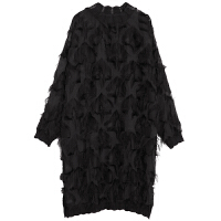 大码连衣裙秋装2018新款女装五角星蕾丝中长裙宽松气质半高领裙潮 黑色 均码