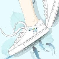 艾米与麦麦2019春季新款原创百搭古风鞋子小清新文艺手绘透气小白鞋女学生平底舒适低帮显瘦板鞋仙女的鞋