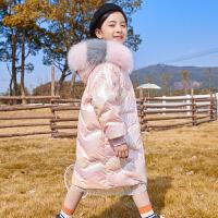 羽绒服女童中长款2020新款中大童亮面洋童装