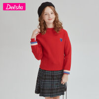 【限时抢 券后预估价:55】笛莎童装女童毛衣2020冬新款毛线衣儿童洋气套头针织衫
