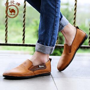 骆驼牌 春季新款 日常休闲男皮鞋 套脚 流行男鞋子 耐磨