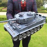 超大型儿童遥控坦克战车玩具男孩充电电动模型可发射越野金属炮管 超大50cm虎式坦克