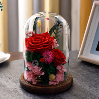 永生花礼盒玫瑰玻璃罩保鲜真花情人节生日送家人朋友同事女友 一生有你 红色带灯