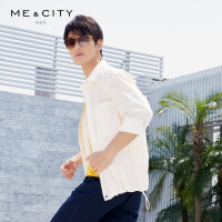 【2件1.5折价:74.9,可叠券】MECITY男装夏季休闲时尚外套白色衬衫式夹克