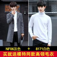新款冬季男士风衣中长款毛呢大衣男韩版加厚帅气修身呢子外套