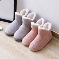 高帮棉拖鞋女冬季包跟家居保暖厚底室内居家用月子情侣秋冬男棉鞋