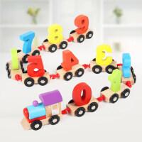 幼儿童早教益智力男孩女孩玩具1-2周岁3积木制拼装拖拉数字小火车