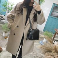 2018秋冬新款韩版女装毛呢外套修身显瘦大码中长款加厚呢子大衣