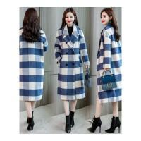 格子大衣女中长款新款秋冬装韩版宽松学生时尚气质毛呢外套潮