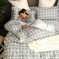 北欧ins简约纯色全棉四件套被单床上被子男纯棉床单被套4三件套夏定制