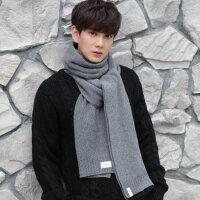 羊毛男士韩版围巾冬季羊绒保暖纯色加厚秋冬毛线围脖两用