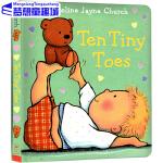 英文原版绘本0 3岁 Ten Tiny Toes 十个小脚趾 纸板书 Caroline Jayne Church 卡罗