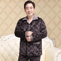 中老年秋冬季男士法兰绒夹棉家居服冬天三层加厚珊瑚绒睡衣