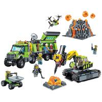儿童兼容乐高积木城市系列火山探险基地重型空运直升机拼装积木儿童玩具