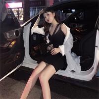 春夏女装新款韩版V领百搭针织打底裙复古外穿内搭包臀套头连衣裙