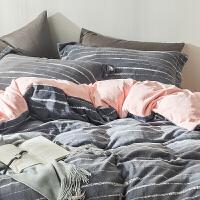 秋冬款加厚保暖卡通牛奶绒四件套1.8m 简约被套床单4件套床上用品定制