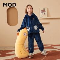 MQD童装男童家居服2020秋冬新款中大童连帽卡通卫衣套装儿童睡衣