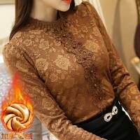 加绒加厚蕾丝衫女秋冬新款韩版立领修身上衣长袖打底衫8846#