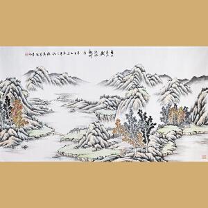 云南省美术家协会会员、著名山水画家徐茂林先生作品――青山看不厌  流水趣何长97*177