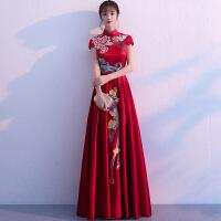 孕妇敬酒服新娘秋季2018新款高腰红色中式结婚旗袍女长款回门礼服 酒红色 X