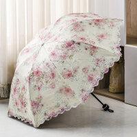 伞黑胶防晒防紫外线遮太阳伞双层蕾丝晴雨两用伞折叠伞女抖音