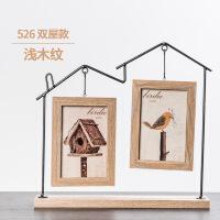 实木相框创意相框6寸北欧铁艺摆台儿童可爱办公桌面水培萌宠木质像框相架 6寸