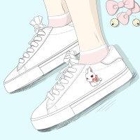 艾米与麦麦2019春季新款原创设计韩版洛丽塔萌兔兔小白鞋女学生软妹板鞋可爱少女百搭低帮系带平底休闲鞋