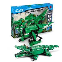 积木拼装玩具恐龙鳄鱼电动遥控6-14岁组装积木可声控感应 积木恐龙 鳄鱼(二合一)