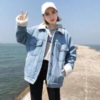 2018秋冬季新款韩版宽松加绒加厚学生棉衣潮短款羊羔毛牛仔外套女 浅蓝色 加厚版