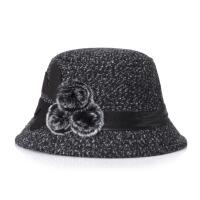 老人毛呢帽子女秋冬中老年妈妈礼帽奶奶保暖加厚渔夫帽老年人盆帽 M(56-58cm)