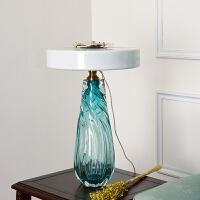 美式简约卧室台灯 样板间书房客厅展厅设计师时尚琉璃水晶台灯
