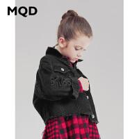 MQD童装女童短款牛仔外套印花2019秋装新款韩版洋气宽松外套